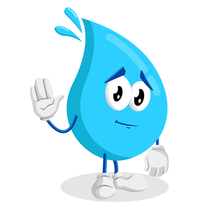 Water mascot and background goodbye pose with flat design style for your mascot branding.