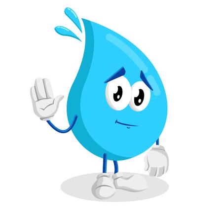 La mascota del agua y el fondo adiós posan con un estilo de diseño plano para la marca de su mascota.