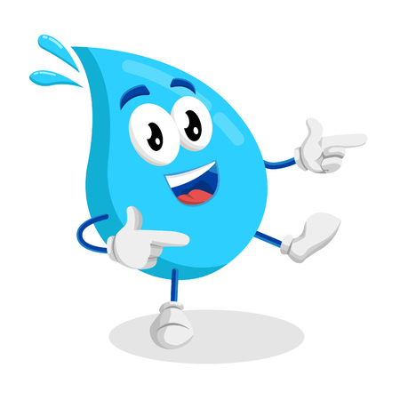 Water mascot and background Hi pose with flat design style for your mascot branding.