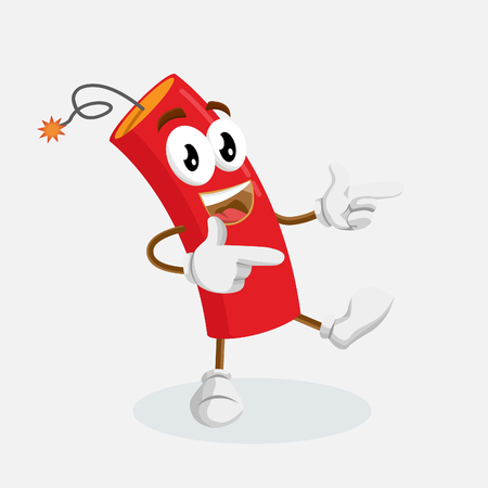 Dynamite mascot and background Hi pose with flat design style for your mascot branding.