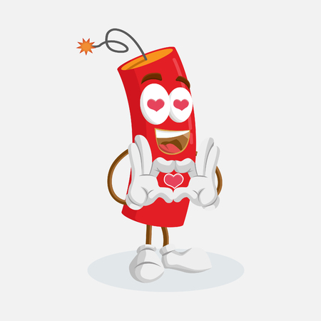 Dynamite mascot and background in love pose with flat design style for your mascot branding.