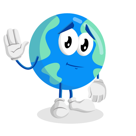 Earth mascot and background goodbye pose with flat design style for your mascot branding.