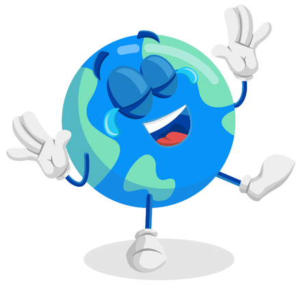 Earth mascot and background happy pose with flat design style for your mascot branding. Illusztráció