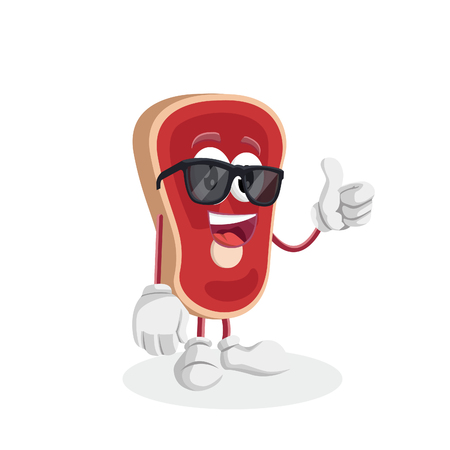 Meat mascot and background thumb pose with flat design style for your mascot branding.