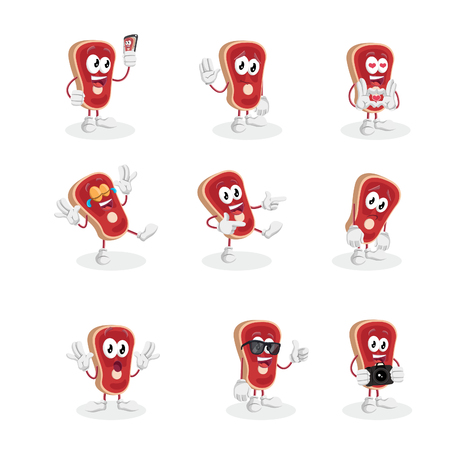 All set Meat mascot and background with flat design style for your mascot branding.