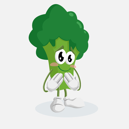 Broccoli mascot and background ashamed pose with flat design style for your mascot branding.