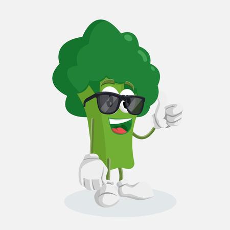 Broccolimascotte en achtergrondduim poseren met platte ontwerpstijl voor uw mascotte-branding.