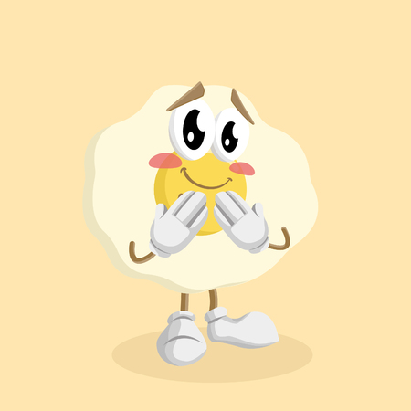 Egg mascot and background ashamed pose with flat design style for your mascot branding. Иллюстрация