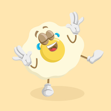 Egg mascot and background happypose with flat design style for your mascot branding.