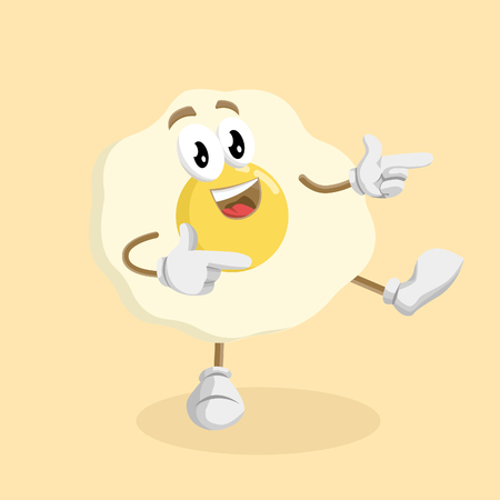 Egg mascot and background Hi pose with flat design style for your mascot branding.
