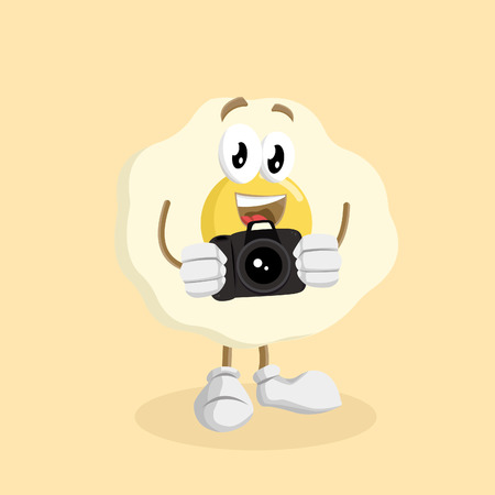 Egg mascot and background with camera pose with flat design style for your mascot branding. Illustration