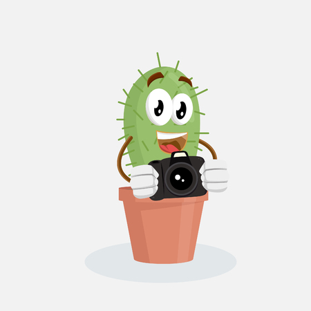 Cactus mascot and background with camera pose with flat design style for your mascot branding.