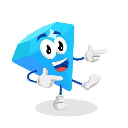 Diamond mascot and background Hi pose with flat design style for your mascot branding. 向量圖像
