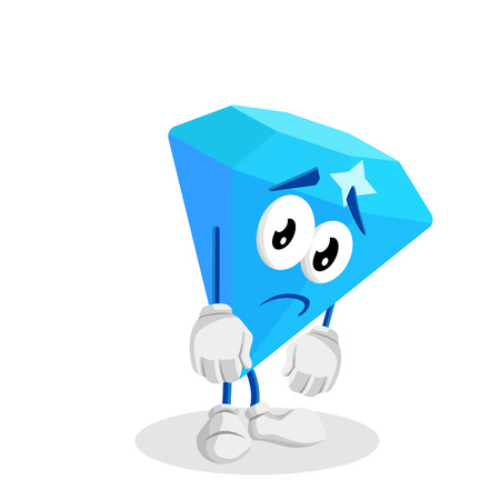 Diamond mascot and background sad pose with flat design style for your mascot branding. 向量圖像