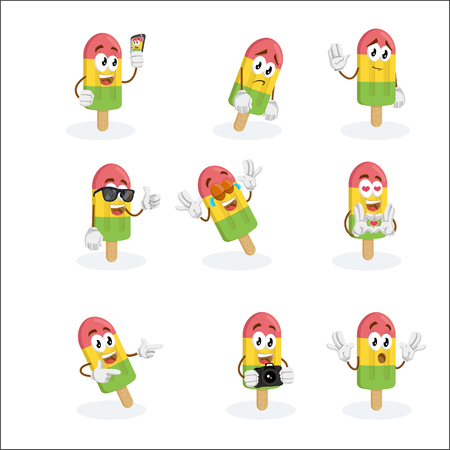 All set Ice Cream mascot and background with flat design style for your mascot branding.