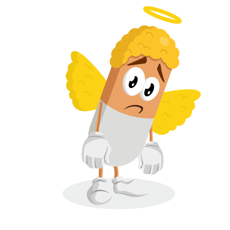 Angel mascot and background sad pose with flat design style for your mascot branding.