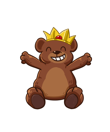 Bear crown mascot and background with flat design style for your logo or mascot branding Illustration