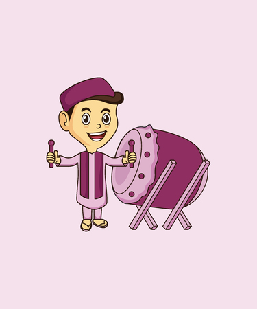 Cute Muslim mascot and background bedug pose with flat design style for your mascot branding.
