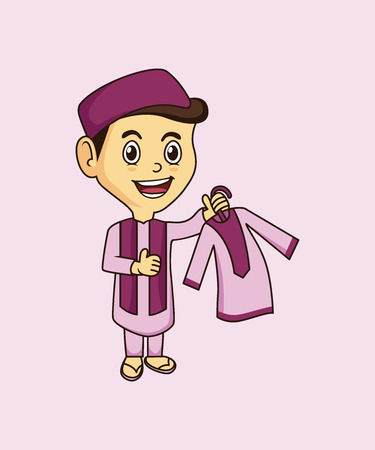 cute Muslim mascot and background pose with flat design style for your mascot branding.