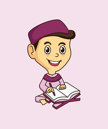 Muslim mascot and background reading pose with flat design style for your mascot branding. Иллюстрация