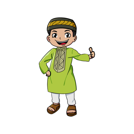 Cute muslim mascot and background with flat design style for your mascot branding.