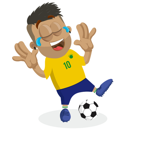 Brazil mascot and background happy pose with flat design style for your icon or mascot branding. Çizim
