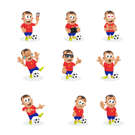 All set Spain mascot and background with flat design style for your logo or mascot branding