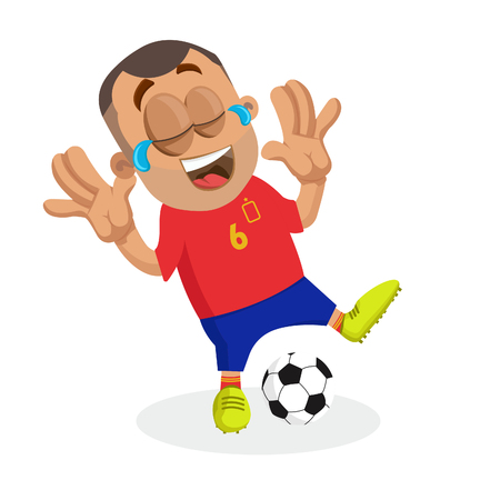 Spain mascot and background happy pose with flat design style for your logo or mascot branding Illustration