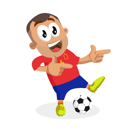 Spain mascot and background Hi pose with flat design style for your logo or mascot branding