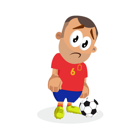 Spain mascot and background sad pose with flat design style for your logo or mascot branding