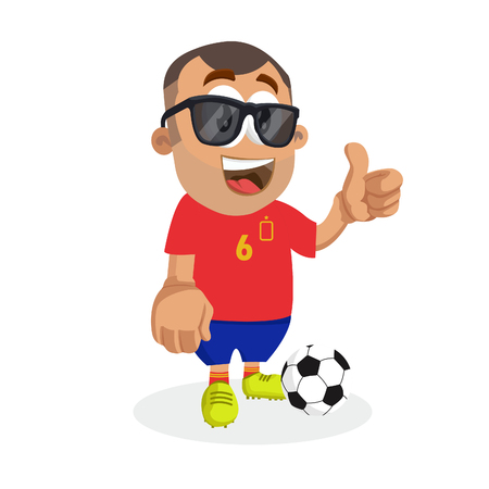Spain mascot and background thumb pose with flat design style for your logo or mascot branding Illustration