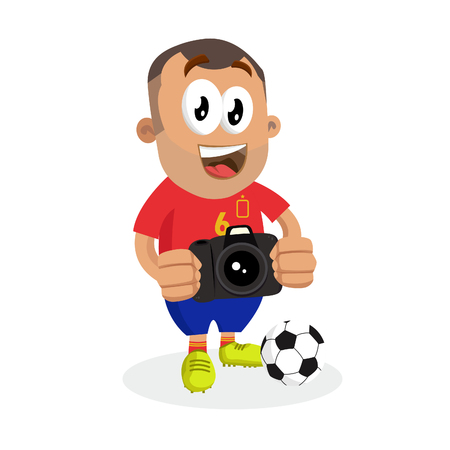 Spain mascot and background with camera pose with flat design style for your logo or mascot branding