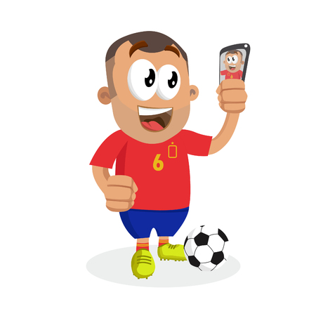 Spain mascot and background with selfie pose with flat design style for your logo or mascot branding Illustration
