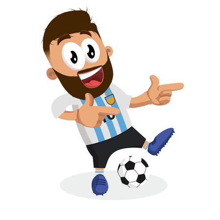 Argentina mascot and background Hi pose with flat design style for your logo or mascot branding 矢量图像