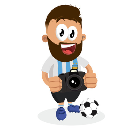 Argentina mascot and background with camera pose with flat design style for your logo or mascot branding