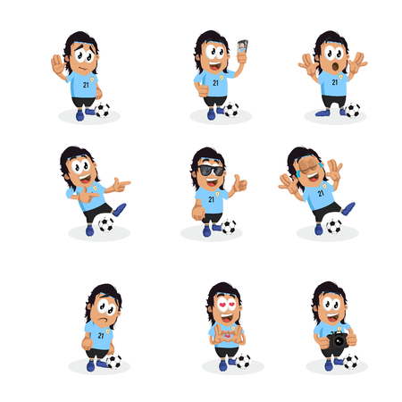 All set Uruguay mascot and background with flat design style for your icon or mascot branding. Illusztráció