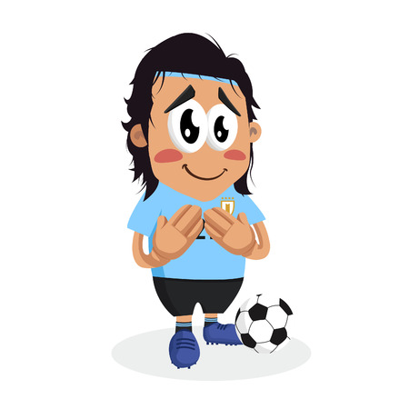 Uruguay mascot and background ashamed pose with flat design style for your icon or mascot branding.