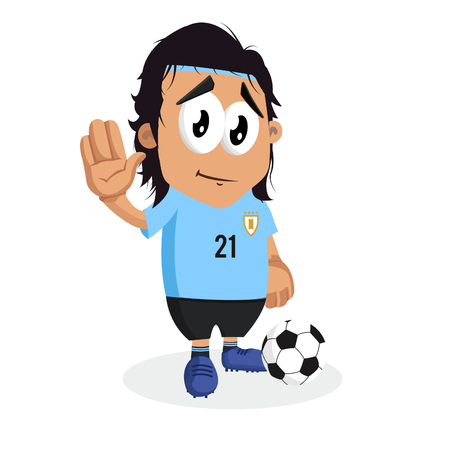 Uruguay mascot and background goodbye pose with flat design style for your icon or mascot branding.