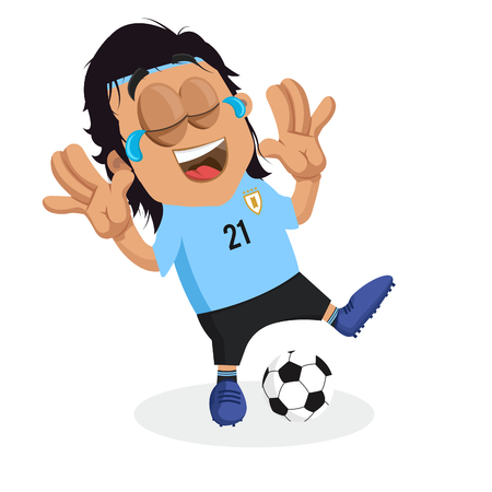 Uruguay mascot and background happy pose with flat design style for your icon or mascot branding. Illusztráció