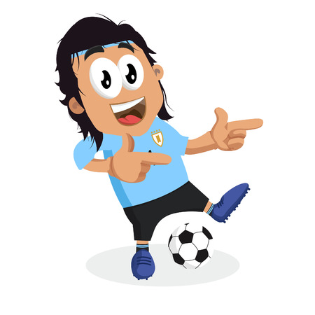 Uruguay mascot and background Hi pose with flat design style for your icon or mascot branding.