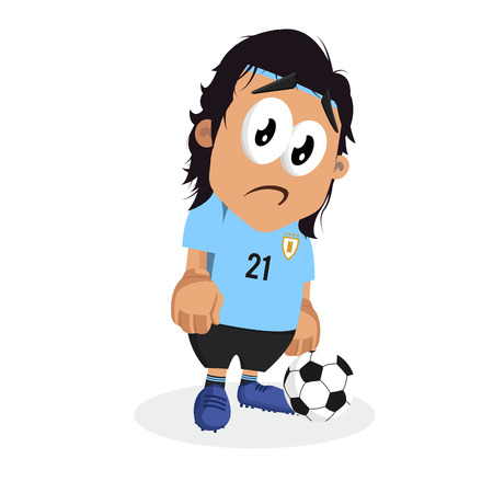 Uruguay mascot and background sad pose with flat design style for your icon or mascot branding. Illusztráció