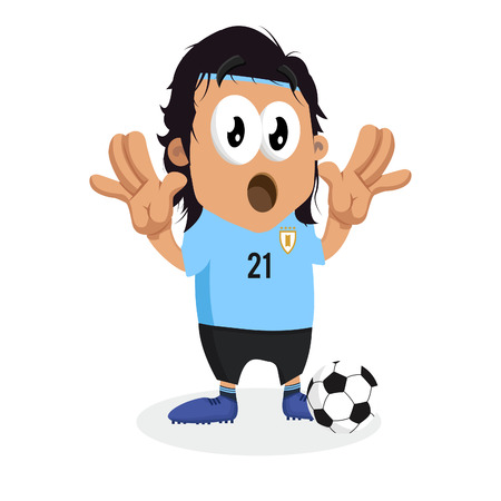 Uruguay mascot and background surprise pose with flat design style for your icon or mascot branding.