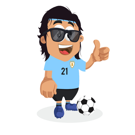 Uruguay mascot and background thumb pose with flat design style for your icon or mascot branding. Illusztráció