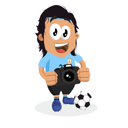 Uruguay mascot and background with camera pose with flat design style for your icon or mascot branding.