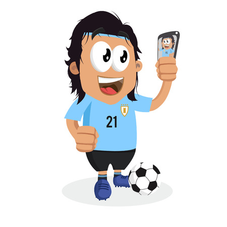 Uruguay mascot and background with selfie pose with flat design style for your icon or mascot branding.