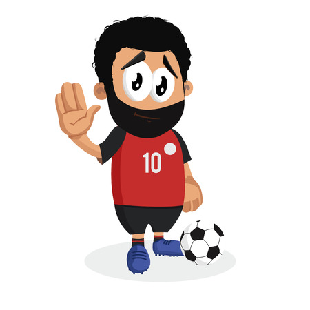 Egypt mascot and background goodbye pose with flat design style for your icon or mascot branding.