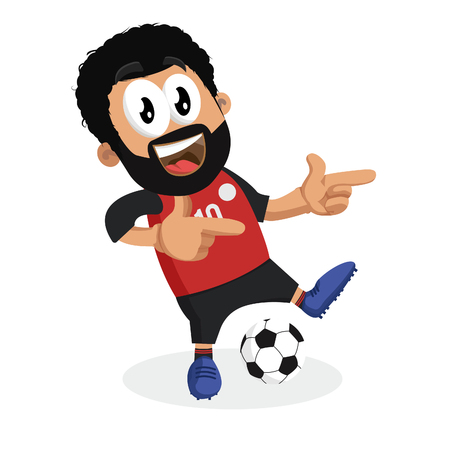Egypt mascot and background Hi pose with flat design style for your icon or mascot branding.