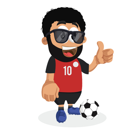 Egypt mascot and background thumb pose with flat design style for your icon or mascot branding.