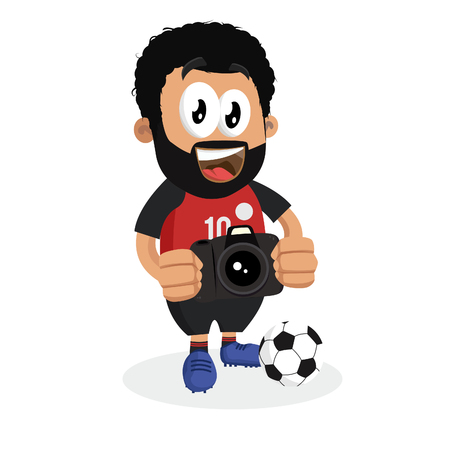 Egypt mascot and background with camera pose with flat design style for your icon or mascot branding. Illusztráció