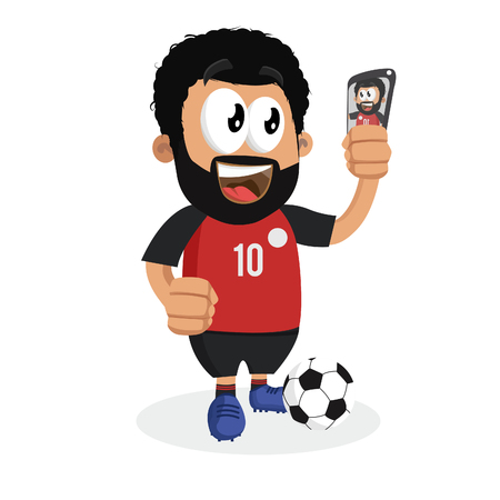 Egypt mascot and background with selfie pose with flat design style for your icon or mascot branding. Illusztráció